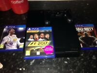 PS4 with Fifa 18, F1 2017 and black ops 3