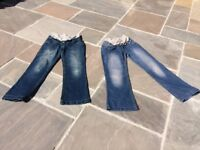 2 pairs maternity over the bump jeans. Size 8 short leg