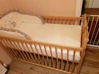 Pine wooden baby bed and mattress +extra