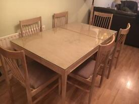 Limewashed table and 6 chairs