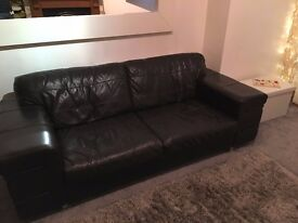 Italian Leather - Dark Brown 3 Seater Sofa and Chair (DFS)