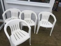 4 White garden chairs