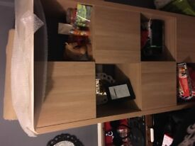 8 cube oak shelves/bookcase/storage system like new offers welcome