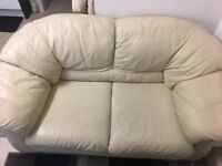 Beige Leather Sofa, 2/3 seater