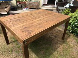 Upcycled reclaimed pallet wood dining table retro rustic oak stained handmade