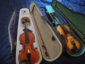 Violins 2 x 3/4 size Violins for sale both with carrying cases and bows