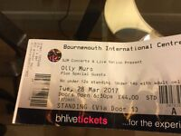 Olly Murs BIC Bmth Tues 28 March standing