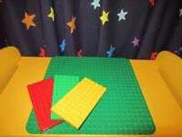 Lego Duplo Green base 38 x 38cm with Green/ Red/ Yellow bases 19cm x 9.5cm
