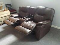 Two seat recliner with cup holders and storage