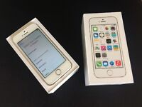 iPhone 5s 16GB Gold, boxed, unlocked and near immaculate, includes charger & factory sealed earbuds