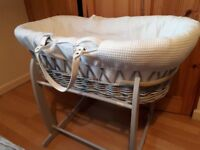 Clair De Lune padded grey wicker moses basket & deluxe rocking stand