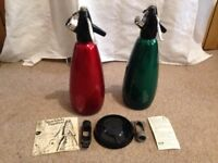 2 Vintage soda siphons syphons + sparklets (60s/70s) + instr + stand (christmas idea?) - collectable