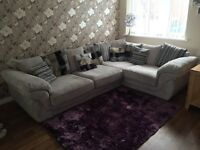 Corner Sofa - Fabric Right Hand Pillow Back in Silver