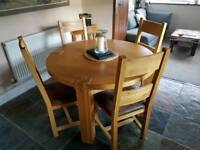 DINING TABLE AND CHAIRS. ROUND. SOLID WOOD