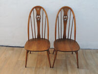 Pair of U shaped Oak ERCOL chairs (Delivery)