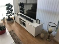 Modern White Gloss TV stand with 2 drawers