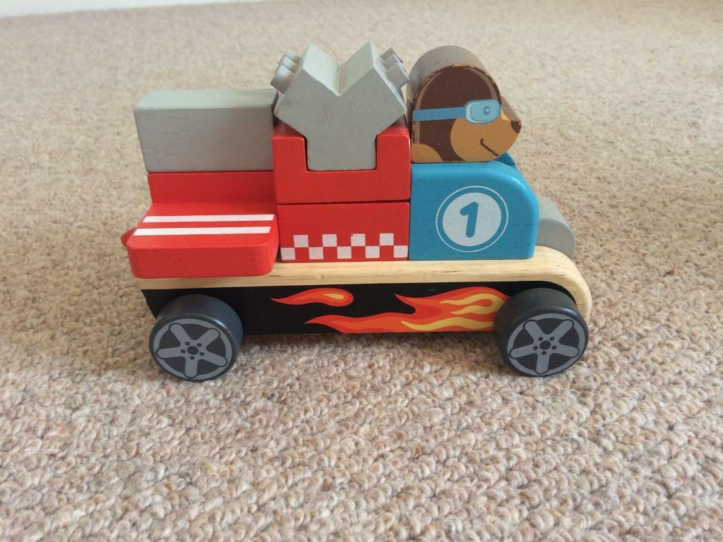 Wooden building block car