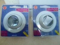 2 BRAND NEW UNOPENED 64mm RECESSED, ADJUSTABLE EYEBALL DOWN LIGHTERS. 60W R64 SCREW FIT + INSTRUCTS.