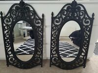 Black ornate mirror can be sold as set or separately looks wrought iron but plastic & light to hang