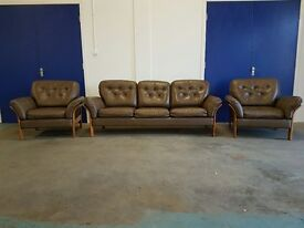 OUTSTANDING RETRO SCANDINAVIAN LEATHER BERGERE SET 3 SEATER SOFA / SUITE / SETTEE & 2 CHAIRS ULFERTS