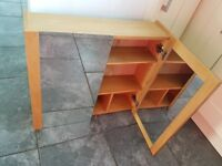 Quality solid bathroom cabinet oak effect with shelves and mirror doors John Lewis