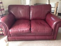 Leather 2 seater sofa and chair, fabric electric recliner chair