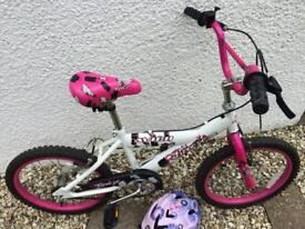 "Girls 14"" bike with helmet"
