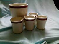 Biscuit barrel and tea/coffee/sugar canisters £5