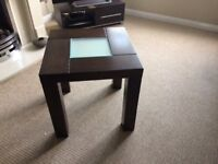 Dark wood dining table 6 chairs also two lamp tables and a mirror