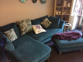 Teal Corner Sofa, Cuddle Seat and Foot Stool
