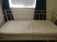 Single bed, cream metal frame, great condition, comes with mattress