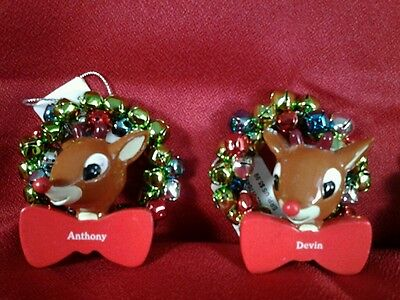 ( Rudolph Reindeer Name Christmas Ornmt w/Bell Wreath Variety Selection, w/ tags)