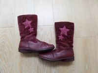 Clarks girls junior/primary - long leather boots with side zips, DAISY ELF (maroon) - size 13