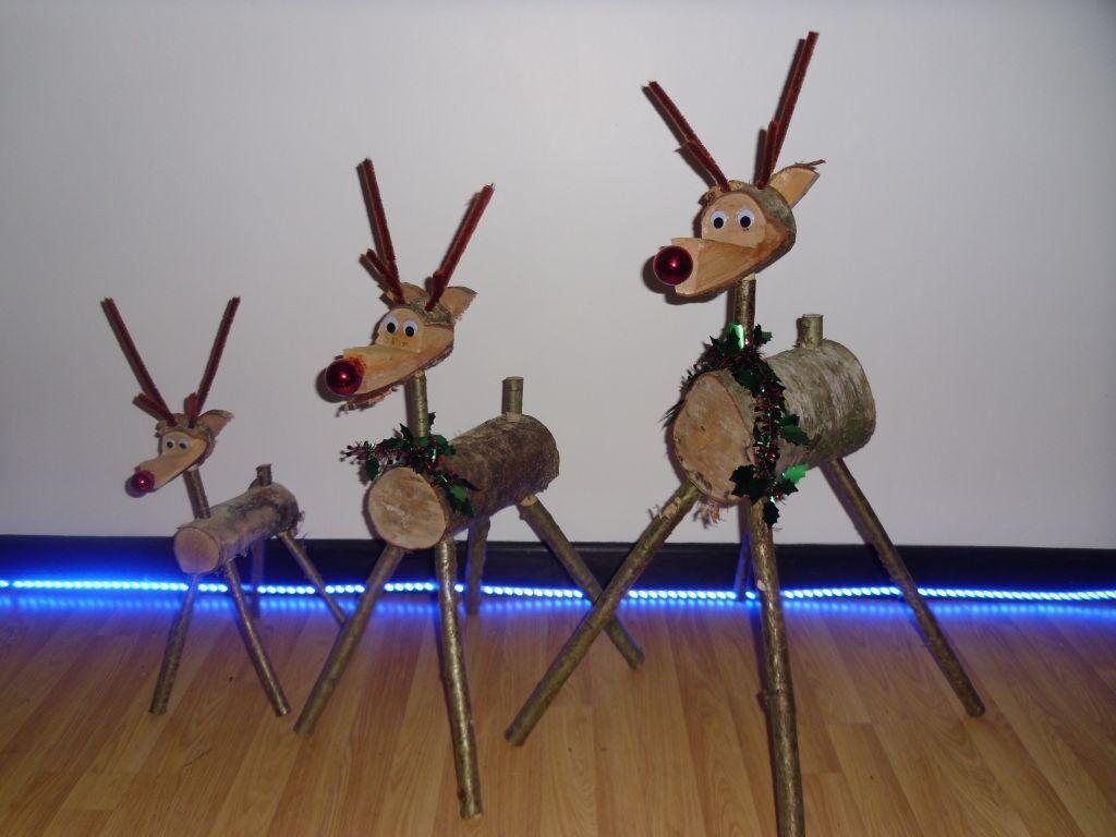 christmas rustic reindeer log reindeer wooden reindeer