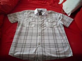 2 mens short sleeve checked shirts brand new xxxl