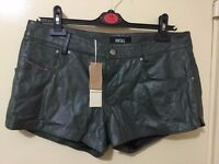 Totally new DIESEL 100% lamb skin leather green shorts with tag only £35