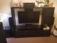 IKEA Black TV console stand (table) with 7 black cubes . £80