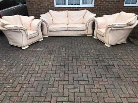 3 seater sofa with two matching armchairs