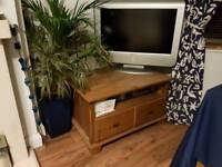 ikea wooden corner television stand with 2 drawers and shelf -walnut colour