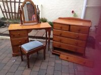 Chest of draws / dressing Table with stool