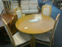 Round light wood colour table and 4 Chairs #33765 £69