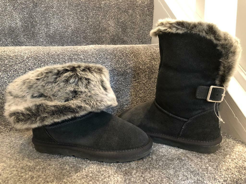 5e1d2a3aa9d BNWT brand new NEXT girls grey suede ankle ugg style boots fur trim kids  girls UK 12   in Rushmere St Andrew, Suffolk   Gumtree