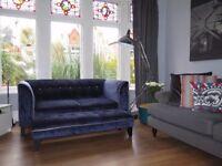 Navy DFS Velvet/Chenille 3 Seater Sofa & Footstool