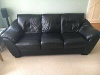 Black Leather 3 seater couch for sale