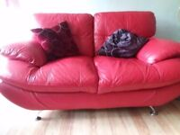 2 seater Leather & chrome settee
