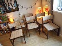 Vintage Retro Scandinavian Danish 6 Teak FARSTRUP Chairs + Tile Top Dining Table