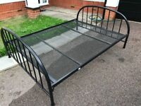 Double bed frame, black metal