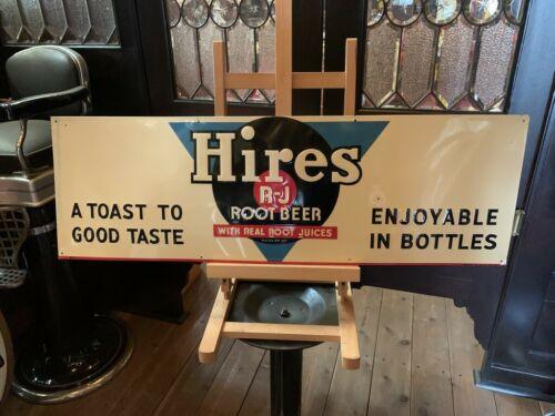 """1947 HIRES ROOT BEER 35"""" Embossed Tin Advertising Sign """"Watch Video"""""""