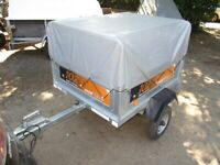 ERDE 102 TILTBED / DROPTAIL GOODS TRAILER WITH HIGH FRAME & COVER....