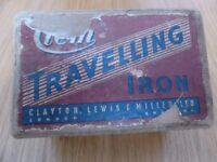 Vintage Retro CLEM Travelling Iron Travel Red Original Box Chrome 1950s